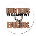 Hunters/Buck Round Car Magnet