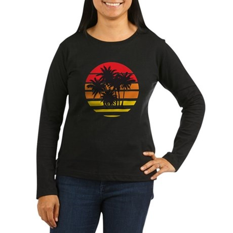 Palm Trees & Sunset Women's Long Sleeve Dark T-Shi