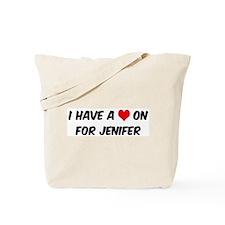 Heart on for Jenifer Tote Bag