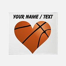 Custom Basketball Heart Throw Blanket