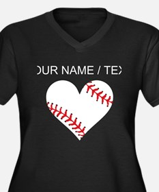 Custom Baseball Heart Plus Size T-Shirt