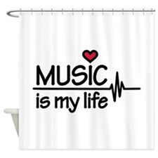 Music is my life heart Shower Curtain