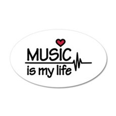 Music is my life heart 20x12 Oval Wall Decal