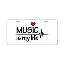 Music is my life heart Aluminum License Plate