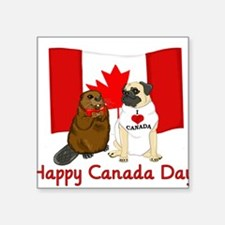 Happy Canada Day Pug and Beaver Sticker