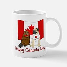 Happy Canada Day Pug and Beaver Mug