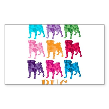 Colorful Camouflage Pugs Sticker