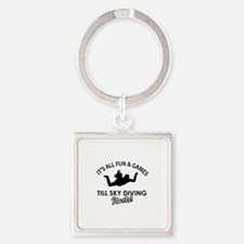 Sky Diving enthusiast designs Square Keychain