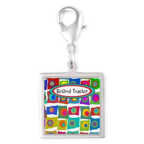 Retired Teacher Silver Square Charm