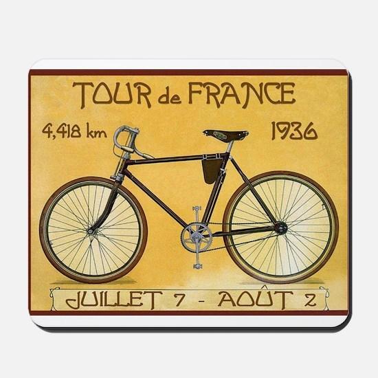Tour de France, Bicycle, Vintage Poster Mousepad