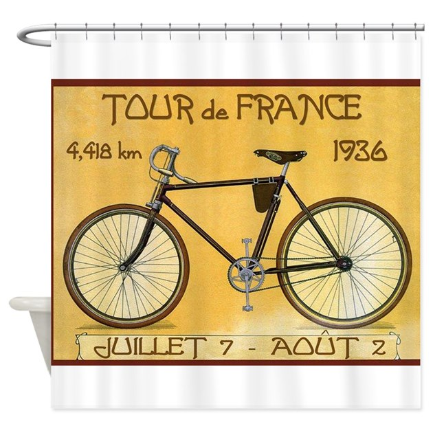 Tour de france bicycle vintage poster shower cur by for Kitchen colors with white cabinets with tandem bike wall art