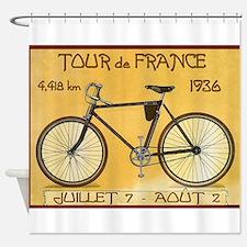 Tour de France, Bicycle, Vintage Poster Shower Cur