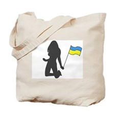 [ukrainian girl with flag] Tote Bag