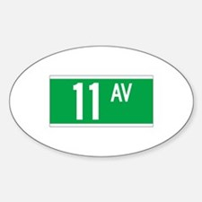 11th Ave., New York - USA Oval Decal