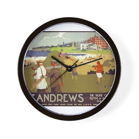 Saint Andrews, Golf, Vintage Poster Wall Clock
