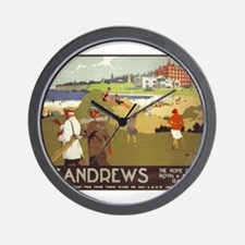 Saint Andrews, Golf, Vintage Poster Wall Clock
