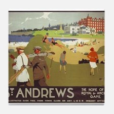Saint Andrews, Golf, Vintage Poster Tile Coaster