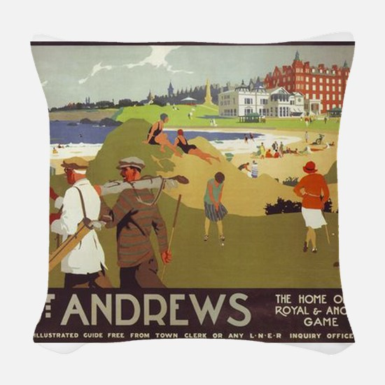 Saint Andrews, Golf, Vintage Poster Woven Throw Pi