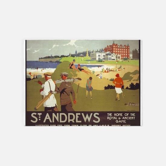 Saint Andrews, Golf, Vintage Poster 5'x7'Area Rug