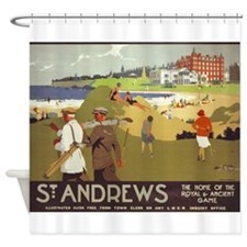 Saint Andrews, Golf, Vintage Poster Shower Curtain