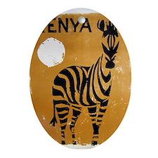 Kenya, Zebra, Vintage Poster Ornament (Oval)
