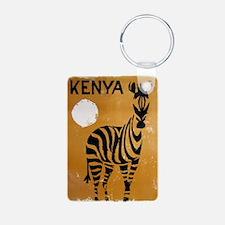 Kenya, Zebra, Vintage Poster Keychains