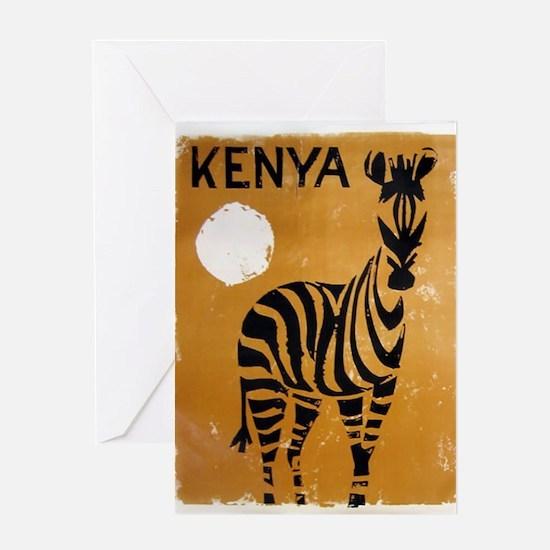 Kenya, Zebra, Vintage Poster Greeting Card