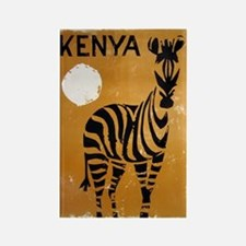Kenya, Zebra, Vintage Poster Rectangle Magnet