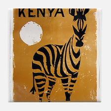 Kenya, Zebra, Vintage Poster Tile Coaster