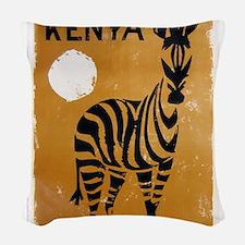 Kenya, Zebra, Vintage Poster Woven Throw Pillow