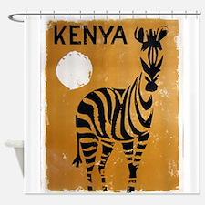 Kenya, Zebra, Vintage Poster Shower Curtain