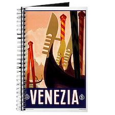 Antique Venice Gondolas Travel Poster Journal