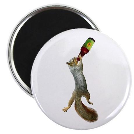 Squirrel Drinking Beer Magnet