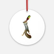 Squirrel Drinking Beer Ornament (Round)
