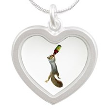 Squirrel Drinking Beer Silver Heart Necklace