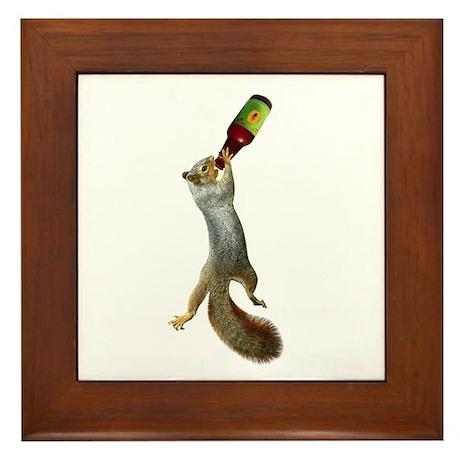 Squirrel Drinking Beer Framed Tile