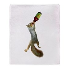 Squirrel Drinking Beer Throw Blanket