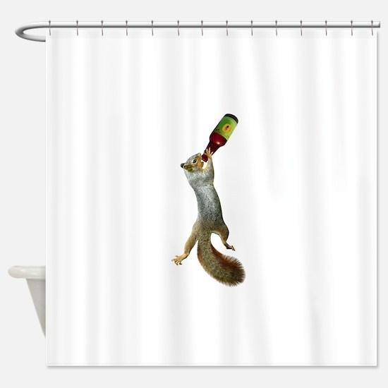 Squirrel Drinking Beer Shower Curtain