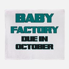 BABY FACTORY DUE IN OCTOBER TEAL FUNNY MATERNITY T