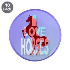 """Circle Love Horses-blue 3.5"""" Button (10 pack)"""