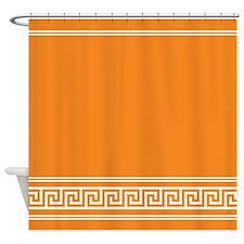 Geometric Art Deco Trendy Tangerine Shower Curtain