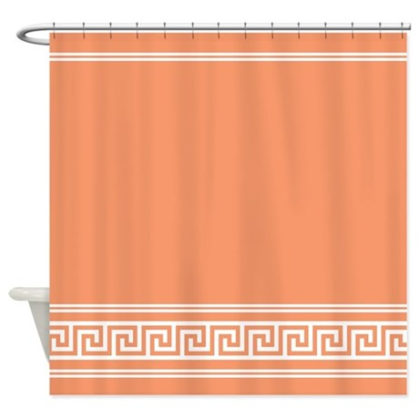 Art Deco Classic Peach Apricot Shower Curtain by