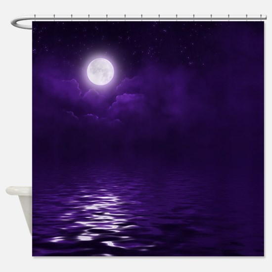 Clouds-Purple-Midnight-Moon Shower Curtain