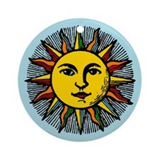 Gold Sun on Blue Ornament (Round)