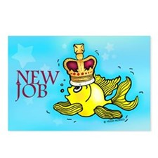 New Job funny cute fish crown Postcards (Package o