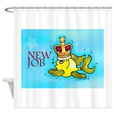New Job funny cute fish crown Shower Curtain