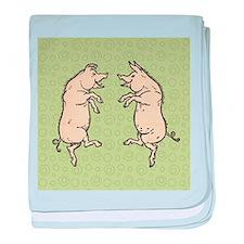 Pigs dancing Vintage piggies baby blanket