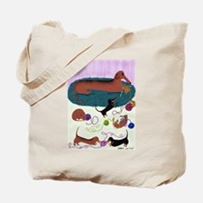Knitting Dachshund Tote Bag