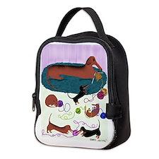 Knitting Dachshund Neoprene Lunch Bag