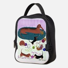 Knitting Dachshund Neoprene Lunch Bag